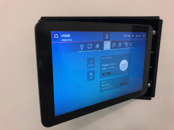 Clipsal 5000ETP10W Ethernet Touch Panel swinging out of wall box