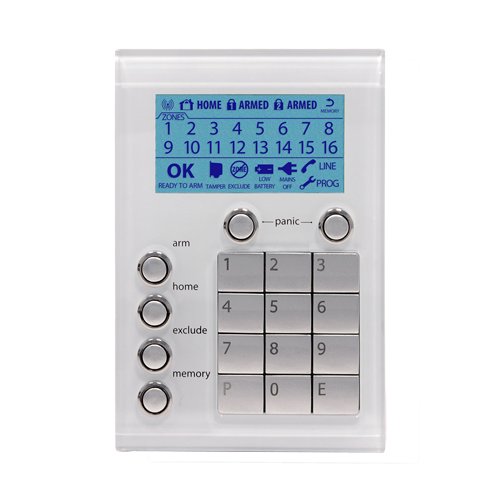 Alarm glass faced keypads from Ness match Clipsal Saturn Series