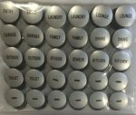 Clipsal Saturn Pre-Labelled Button Caps available in Arctic Silver (60PBC-3A) or Charcoal (60PBC-CC)