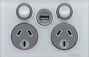 Clipsal Saturn Twin Powerpoint with USB (4025USBC) is a good choice for the lounge, bedroom desk and home office.