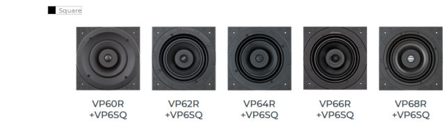 Sonance VP6x Medium Square Selection by adding square grille adapter pack