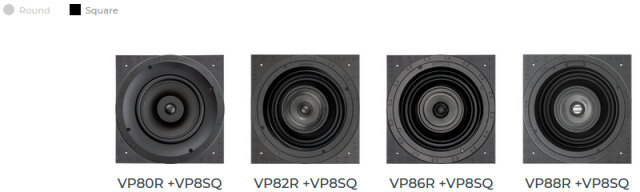 Sonance VP8x Large Square Selection by adding square grille adapter pack
