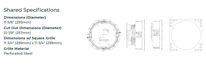 Sonance VP8x Visual Performance Shared (or common to all models) Specifications